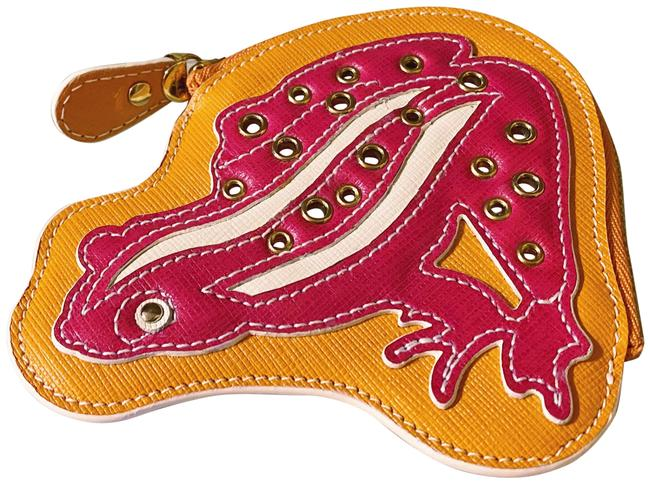 Item - Pink and Orange Rare Saffiano Leather Zip Frog Coin Purse / Pouch