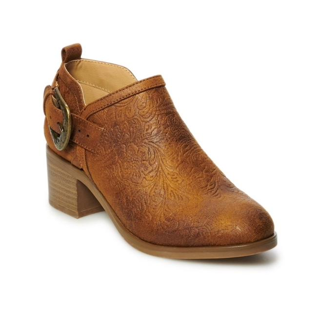 Item - Cognac Brown Embossed Ankle with Buckle Boots/Booties Size US 9.5 Regular (M, B)