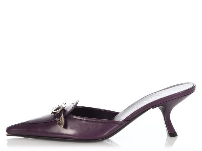Item - Purple Leather Buckle Mules/Slides Size EU 37 (Approx. US 7) Regular (M, B)