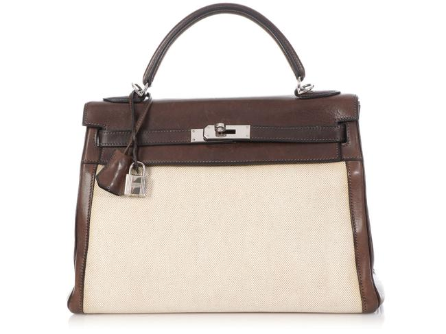Item - Kelly 32 Toile and Ebene Barenia Brown Calfskin Leather Satchel