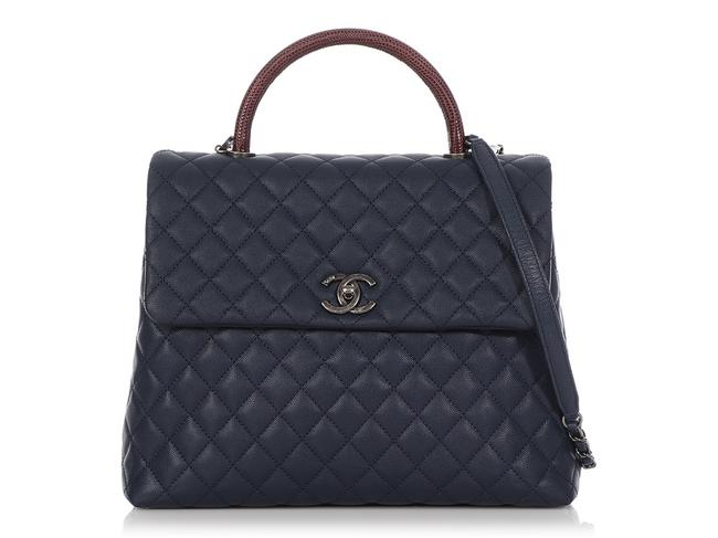 Item - Coco Handle Large Burgundy Lizard and Quilted Caviar Navy Blue Leather Shoulder Bag
