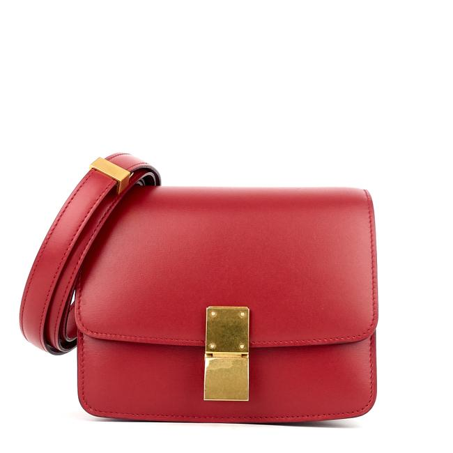 Céline Classic Box Small Red Calfskin Leather Cross Body Bag Céline Classic Box Small Red Calfskin Leather Cross Body Bag Image 1