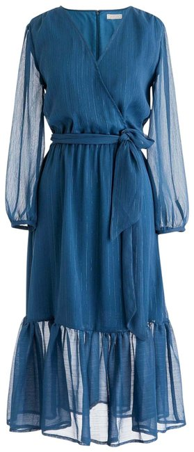 Item - Blue Faux-wrap In Lurex Crinkle Chiffon Mid-length Cocktail Dress Size 6 (S)