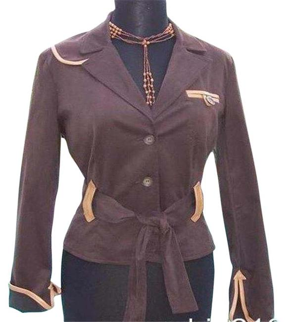 Item - Brown Cotton Suede and Removable Belt Trim Top Jacket Size 4 (S)