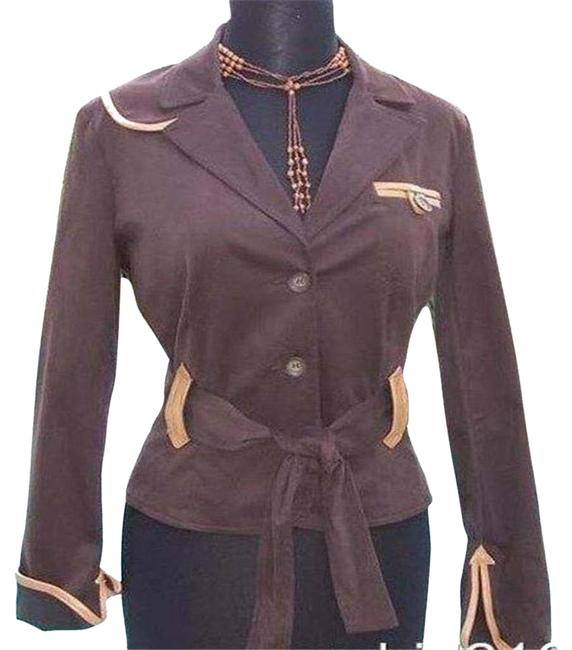 Item - Brown Cotton Suede and Removable Belt Trim Top Jacket Size 12 (L)