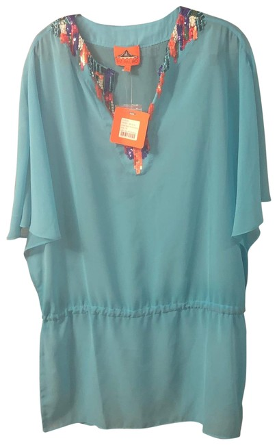 Item - Blue Aqua Caftan Beaded Embellished Extra Small Cover-up/Sarong Size 2 (XS)