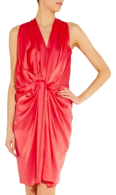 Item - Pink Geranium (Coral) Knotted Draped Silk Mid-length Cocktail Dress Size 4 (S)