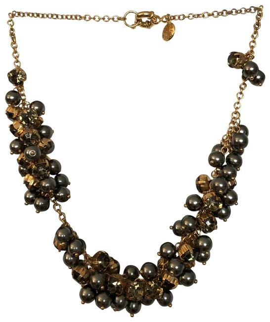 Item - Green/Grey/Gold Pearl Cluster Necklace