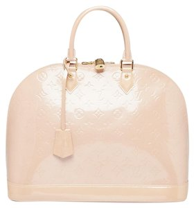 Louis Vuitton Lv Gold Hardware Vernis Neverfull Alma Tote in Beige