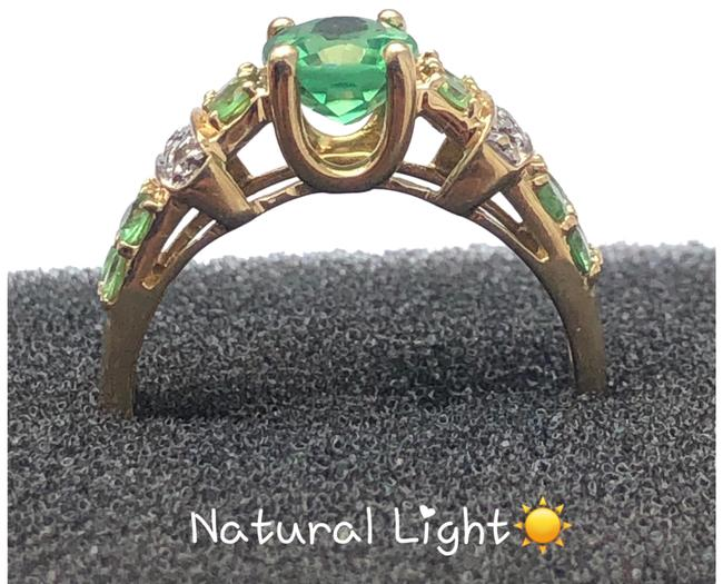 Green and Yellow Gold 14kt Gemstone & Diamond Ring Green and Yellow Gold 14kt Gemstone & Diamond Ring Image 1