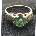 Green and Yellow Gold 14kt Gemstone & Diamond Ring Green and Yellow Gold 14kt Gemstone & Diamond Ring Image 2