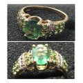 Green and Yellow Gold 14kt Gemstone & Diamond Ring Green and Yellow Gold 14kt Gemstone & Diamond Ring Image 4
