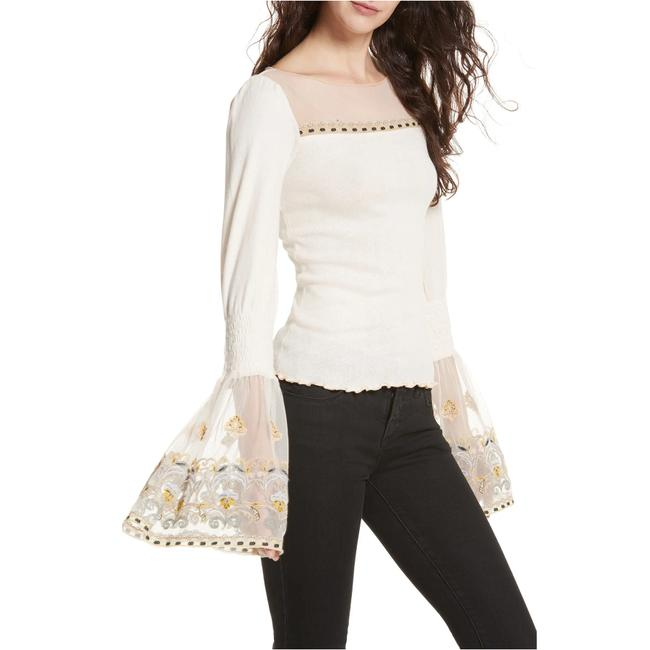 Preload https://img-static.tradesy.com/item/27991122/free-people-ivory-high-tide-cotton-knit-embroidered-mesh-bell-sleeve-m-blouse-size-10-m-0-2-650-650.jpg