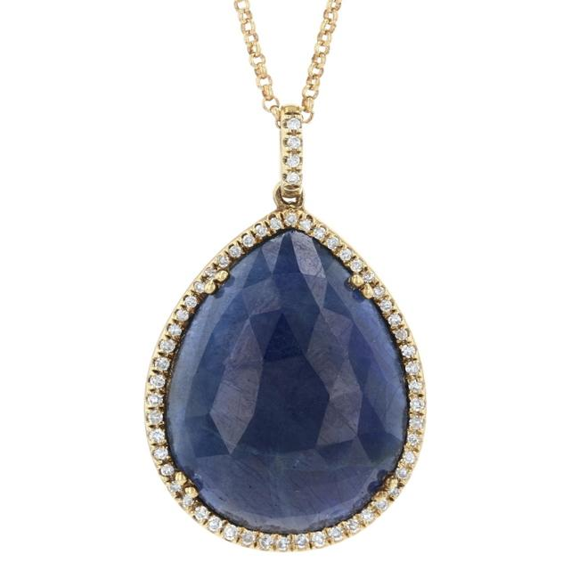 """Wilson Brothers Jewelry Yellow Gold Sapphire & Diamond Halo 3/4"""" - 14k Pear E9853 Necklace Wilson Brothers Jewelry Yellow Gold Sapphire & Diamond Halo 3/4"""" - 14k Pear E9853 Necklace Image 1"""