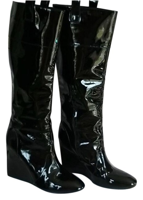 J Vincent Black Patent Leather Wedge Boots/Booties Size US 10 Regular (M, B) J Vincent Black Patent Leather Wedge Boots/Booties Size US 10 Regular (M, B) Image 1