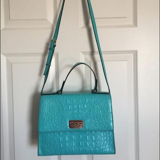 Kate Spade Orchardvalley Croc Satchel in Turquoise