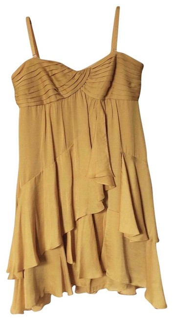 Item - Yellow Bcbg Strapless Tube Backless Ruffle Mid-length Cocktail Dress Size 6 (S)
