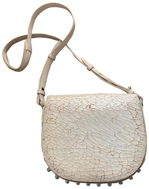 Alexander Wang Cracked Lia Sling White Leather Shoulder Bag Alexander Wang Cracked Lia Sling White Leather Shoulder Bag Image 1