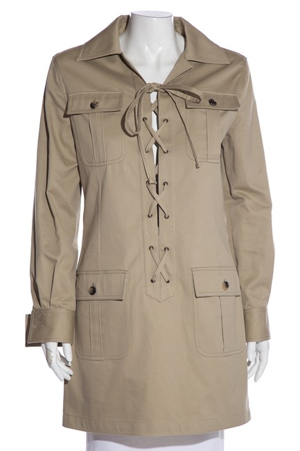 Item - Beige Yves Lace-up Trench Short Casual Dress Size 4 (S)