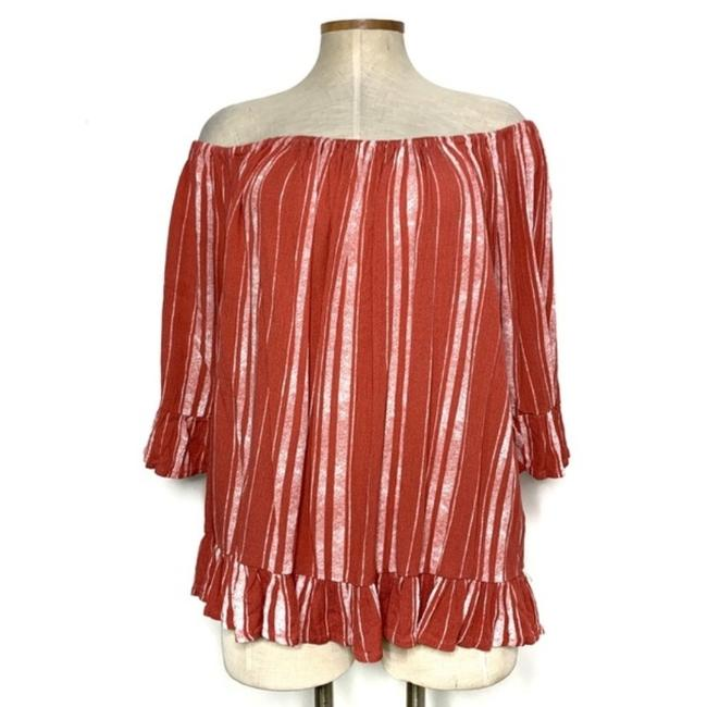 Pink Striped Off The Shoulder Blouse Size 28 (Plus 3x) Pink Striped Off The Shoulder Blouse Size 28 (Plus 3x) Image 1