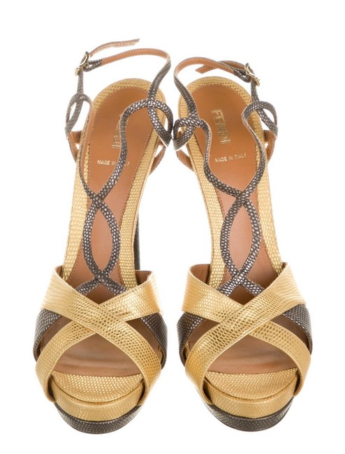 Fendi Gold and Metallic Fen145386 Sandals Size US 12 Regular (M, B) Fendi Gold and Metallic Fen145386 Sandals Size US 12 Regular (M, B) Image 1