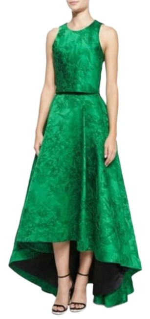 Item - Green Embroidered Sateen Jacquard Set Long Night Out Dress Size 0 (XS)