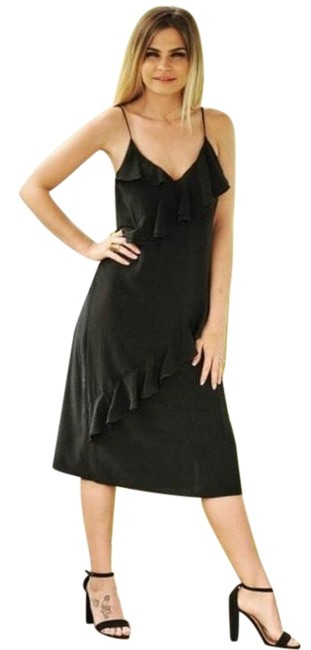 Threadzwear Black Women's Ruffled Mid-length Cocktail Dress Size 6 (S) Threadzwear Black Women's Ruffled Mid-length Cocktail Dress Size 6 (S) Image 1