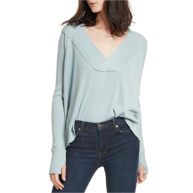Preload https://img-static.tradesy.com/item/27991590/free-people-mint-green-oceanview-plunging-v-neck-slouchy-cotton-blend-rib-s-blouse-size-6-s-0-2-650-650.jpg