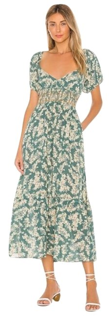 Item - Green Floral Puffy Sleeve Long Casual Maxi Dress Size 12 (L)