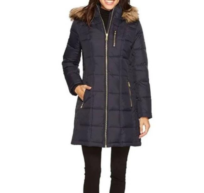 Item - Navy Down Mid Length Puffer Coat Size 12 (L)