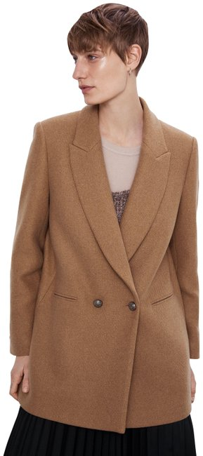 Item - Taupe Brown Wool-blend Double Breasted Coat Blazer Size 4 (S)
