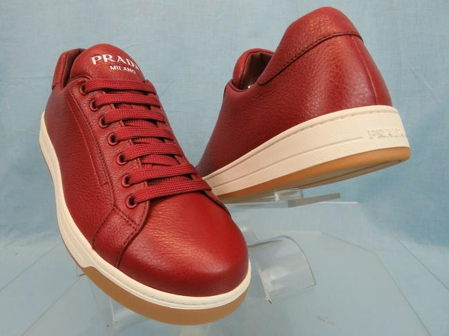 Item - Red 4e3507 Textured Leather Lace Up Logo Low Top Sneakers 10 Us 11 Shoes
