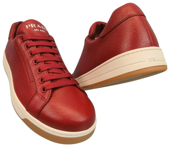 Item - Red 4e3507 Textured Leather Lace Up Logo Low Top Sneakers 9.5 Us 10.5 Shoes