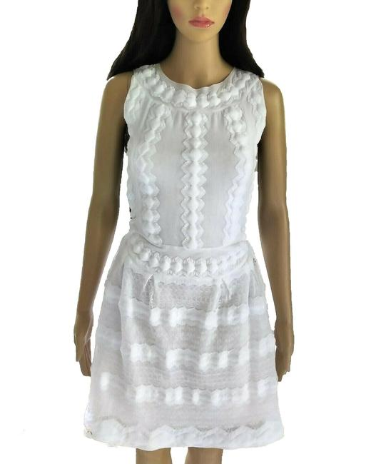 Item - White 2015 Ss15 Camellia Embellished A-line Mini 36 Short Casual Dress Size 4 (S)