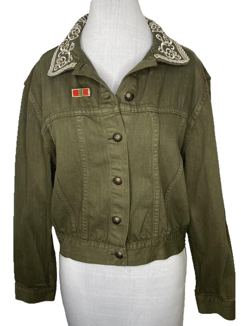 Item - Green L Chloe Embroidered Cropped In Army (Nwt) Jacket Size 12 (L)