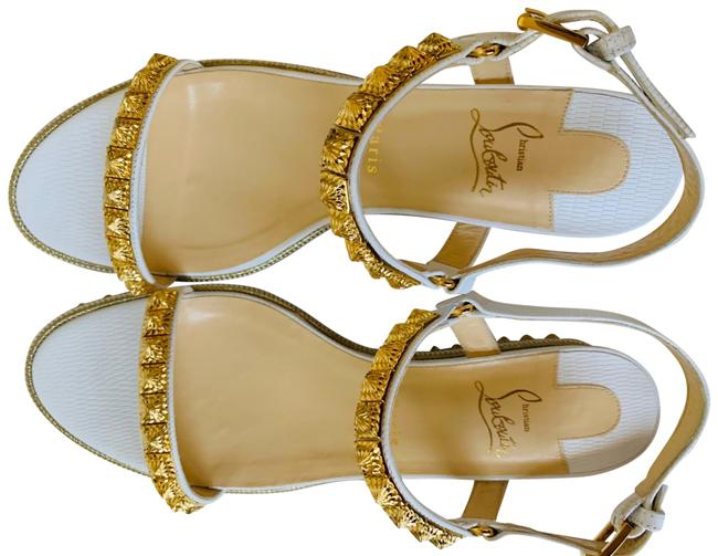 Item - White Pyraclou 60 Studded Lizard-effect Leather Sandals Wedges Size EU 42 (Approx. US 12) Regular (M, B)
