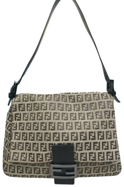 Item - Mamma Forever Brown Zucchino Print On Tan Canvas and Leather Shoulder Bag