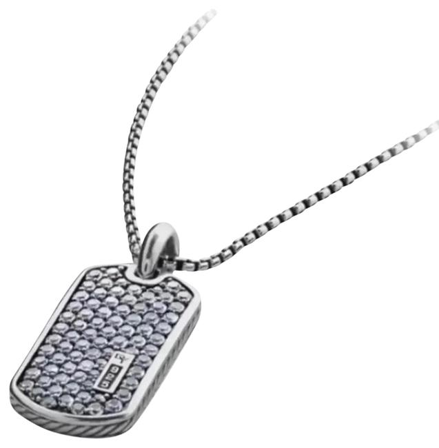 Item - Gray Sapphire Dog Tag and Chain Necklace
