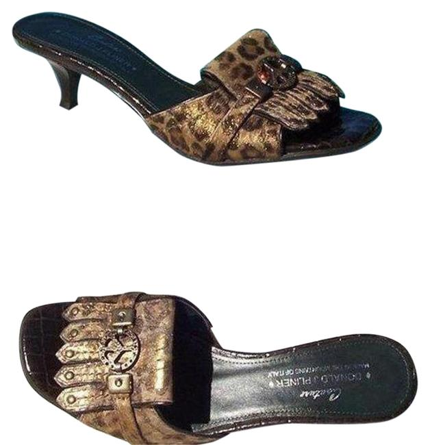 Item - Brown Metallic Multi Couture Gator Leather Slide Hair Calf Peace Sign Sandals Size US 6 Regular (M, B)