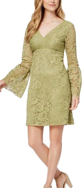 Item - Green Lace V Neck Mid-length Formal Dress Size 2 (XS)