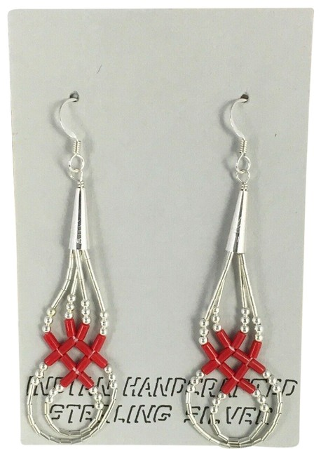 """Item - Red Silver Liquid Dangle Coral Tube Sterling Size 2"""" 8877 Earrings"""