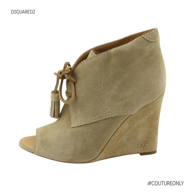 Item - Beige New Dsq2 Suede Leather Peep-toe Wedge Heel Lace-up Boots/Booties Size US 7 Regular (M, B)