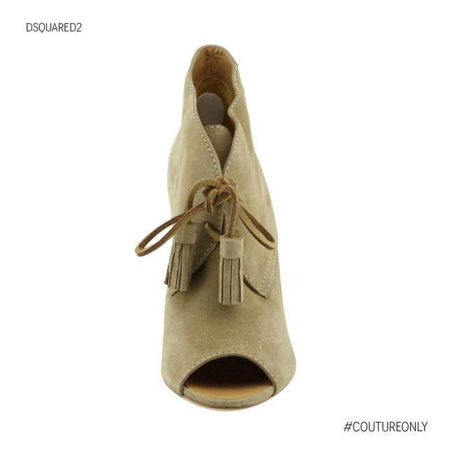 Item - Beige New Dsq2 Suede Leather Peep-toe Wedge Heel Lace-up Boots/Booties Size US 8 Regular (M, B)