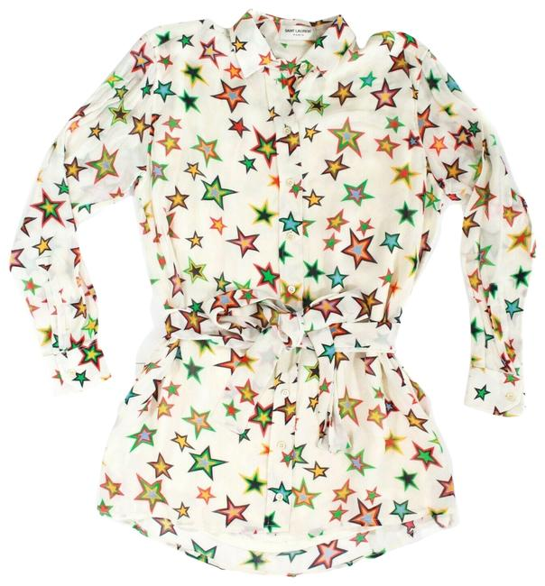 Item - White/Cream Multicolor W 2016 Star W/ Belt Tunic Us 4 - 36 Short Casual Dress Size 6 (S)