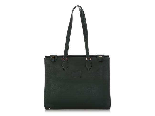 Item - Cabas 40 Clemence Moss Green Leather Tote