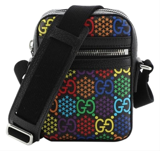Item - Front Zip Psychedelic Print Gg Coated Mini Multi Color Black Canvas Messenger Bag