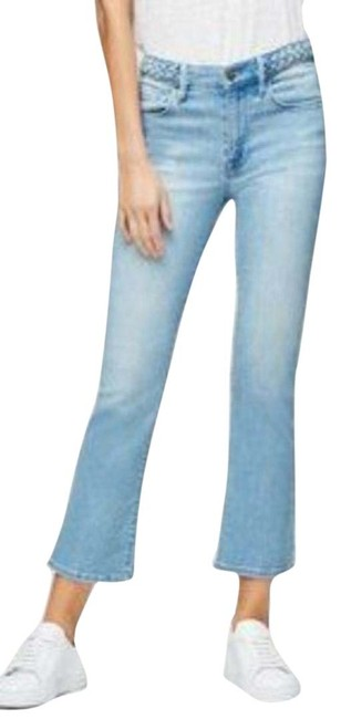 Item - Blue Wash Light Crop Mini Bootcut Braided Flare Leg Jeans Size 10 (M, 31)