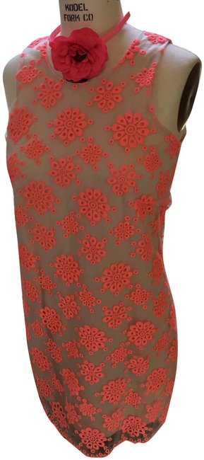 Item - Cream and Coral Celebratory Shift Short Casual Dress Size 4 (S)