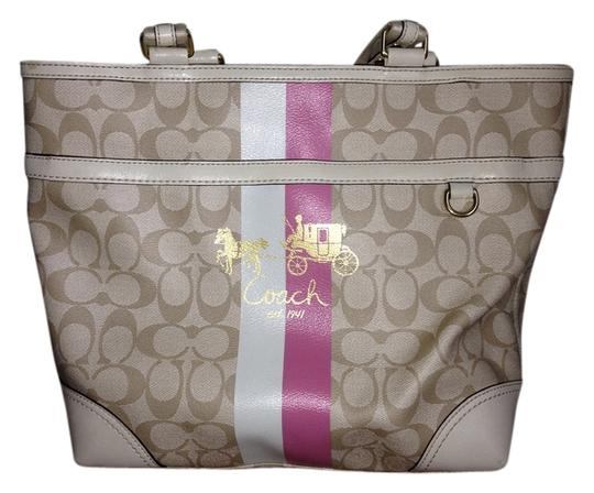 Preload https://item1.tradesy.com/images/coach-heritage-13196-beigepink-coated-canvas-tote-2799595-0-0.jpg?width=440&height=440