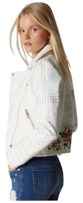 Item - White Printed Studded Moto In Full Bloom Jacket Size 12 (L)